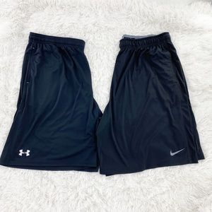 Under Armour and Nike black shorts